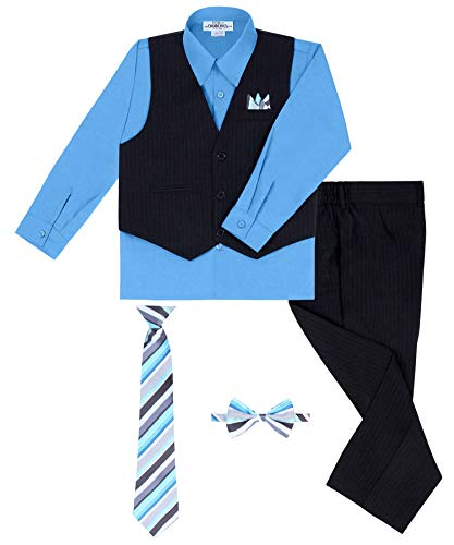 S.H. Churchill & Co. Boy's Vest and Pant Set, Includes Shirt, Tie and Hanky - Black/Vivid Blue, 10