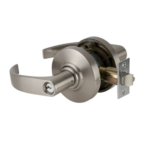 Schlage commercial AL53PDNEP619 AL Series Grade 2 Cylindrical Lock, Entry Function Turn/Push Button Locking, Neptune Lever Design, Satin Nickel Finish by Schlage Lock Company