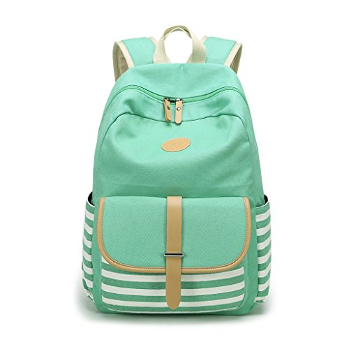 Green Striped Backpack - Bduco Striped School Canvas Backpack Travel Rucksack with Bohemian Embroidery Design for Girls Women (Green)