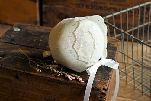 Ivory Eyelet Bonnet, Adjustable for Newborn - 3 Months, Photography Prop