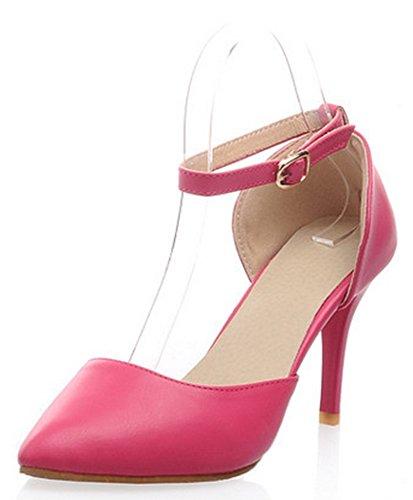 Easemax Moda Donna Punta A Punta Cinturino Alla Caviglia Fibbia Low Cut Pumps Sandali Tacco A Spillo Alti Rosa