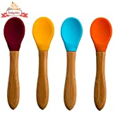 Babynow Soft Baby Feeding Spoon [4 Pack] Makes Mealtime Fun and Easy with Supple Silicone Bowl and Easy Grip Bamboo Handle (BPA Free)