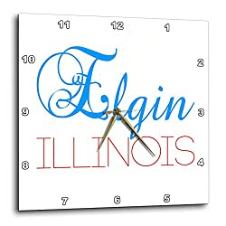 3dRose Alexis Design - American Cities Delaware-Kansas - Elgin, Illinois Blue, red Text. Patriotic Home Town Design - 10x10 Wall Clock (DPP_299036_1)