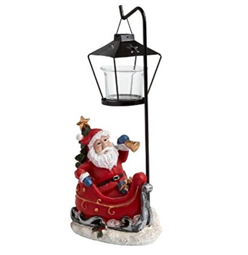 Santa Claus and Sleigh Lamp Post Tealight Candle Holder 11.5