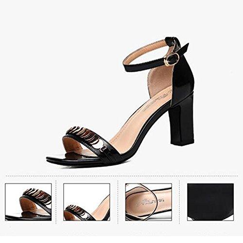 Sandales Chaussures Noir Beige base Chunky UK6 CN40 femmes Toe taille de chaussures 5 Open talon pour ans pour d'été EU39 18 40 perles Casual Pour HAIZHEN pour Femmes femmes Couleur xCtAXgwxq