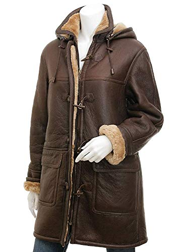 KahfLeathers Women's Brown Color Sheepskin Duffle Genuine Leather Winter Coat. (Small Jacket Chest 44
