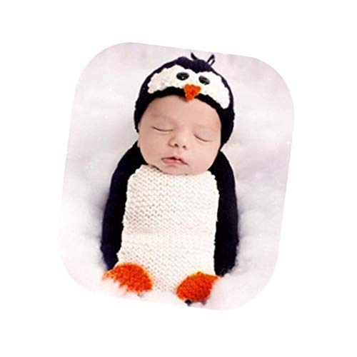Coberllus Newborn Baby Photo Props Outfits Penguin Sleeping Bag for Boy Girls Photography Shoot, White, Medium -