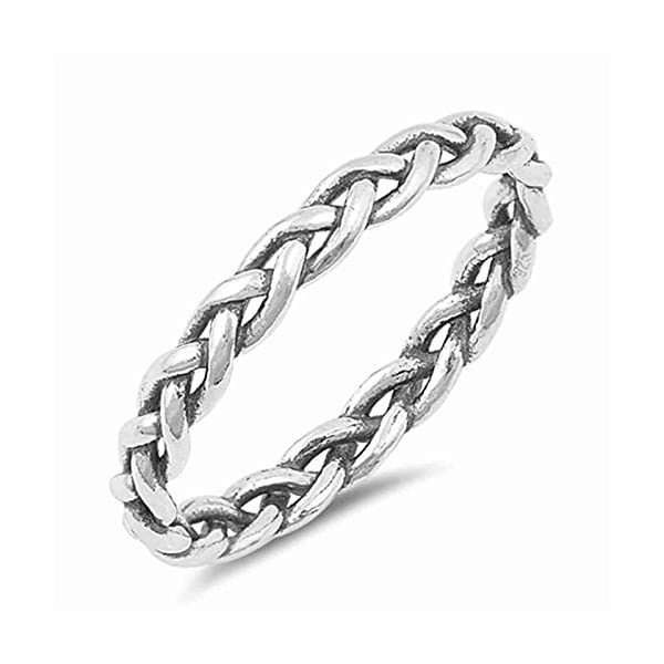 4ddd71f2930 Braid Promise Ring Womens Girls Girlfriends Sterling Silver Simple Jewelry  Sizes 4-10
