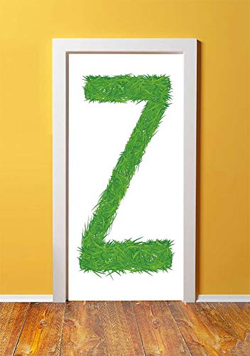 Letter Z 3D Door Sticker Wall Decals Mural Wallpaper,Spring Capital Z Made Out of Grass Ladybug Butterfly Daisy Chamomile Flowers Decorative,DIY Art Home Decor Poster Decoration 30.3x78.8337,Green Mul
