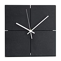 FlorLife Large Giant Wall Clocks Wooden Hanging Clock Square Wood Wall Clock Silent Non-Ticking Room Office Simple Modern Design Home Decor Black