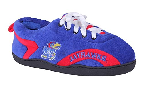KAN05-3 - Kansas Jayhawks - Large - Happy Feet Mens and Womens All Around Slippers