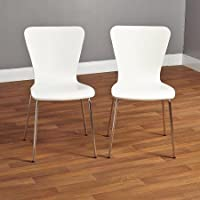 Bentwood Stackable Chair, with Retro Hourglass-shape Curves and Sturdy Chrome-plated Tube Metal Legs (Set of 2) in White