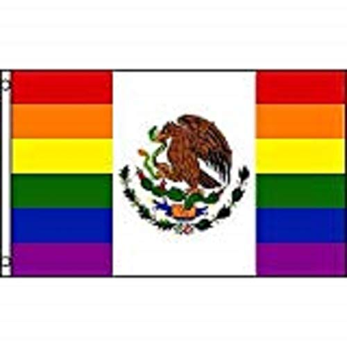 Flag Link - Gay Pride Mexican Rainbow Flag 3x5 Ft Polyester