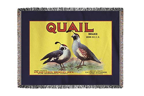 (Lantern Press Upland, California - Quail Brand - Vintage Label 57660 (60x80 Woven Chenille Yarn Blanket))