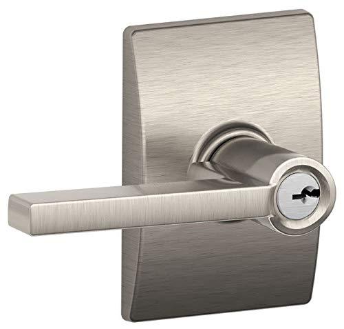 (Schlage F51ALAT619CEN Satin Nickel Latitude Keyed Entry F51A Panic Proof Door Lever with Century Rosette)