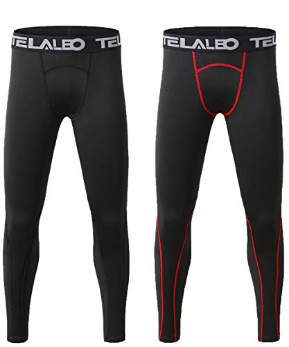 TELALEO Boys' Youth Compression Base Layer Pants Tight Running Leggings Trousers-2Pcs-XS