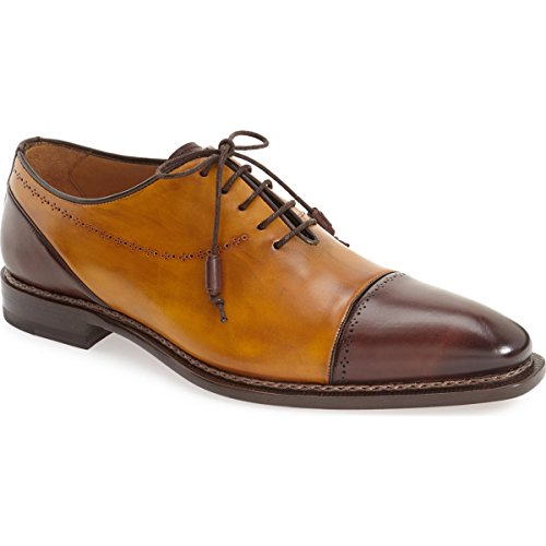 Mezlan 6358 Men's Antico' Cap Toe Oxford, Brown/Mustard – 13 M