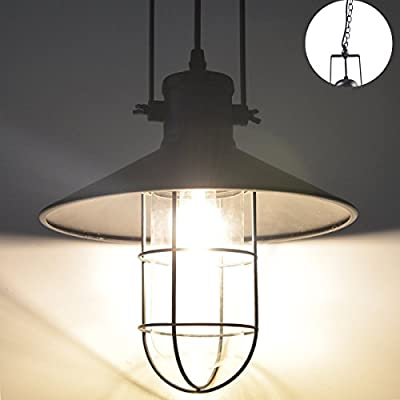 ZHMA Pendant Lamp 1-Light, Retro Industrial Warehouse Pendant Lighting,Geometric Design Modern Iron ceiling lighting, Adjustable Hanging Height