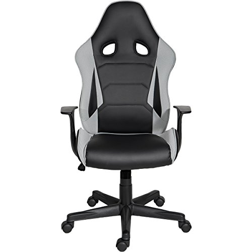 41ZU8QVdvYL - ModernLuxe-Racing-Style-Gaming-Chair-Soft-PU-Leather-and-Mesh-Fabric-Task-Chair-Grey