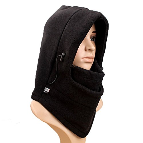 Wowlife@ Ascetic Tour Polar Fleece Balaclava Warm Full Face Cover Winter Ski Mask Beanie Cs Hat Double Layers Thermal Warm Fleece Thicken Balaclava Hood Full Face Cover Mask Winter Wind Proof Stopper Hat Neck Warmer for Outdoors Snowboarding Ski Motorcycle for Christmas Valentine's Day Gift (Black)