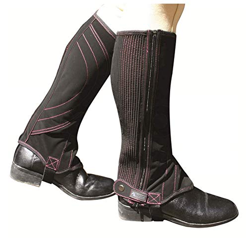 Dublin Unisex Touch Fastening Easy-Care Half Chaps (Adults Xlarge) (Black/Pink) ()