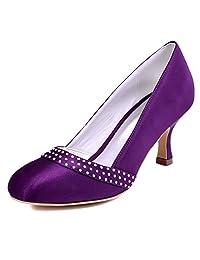 ElegantPark A0718 Women Satin Closed Toe Mid Heel Pumps Rhinestones Wedding Bridal Shoes