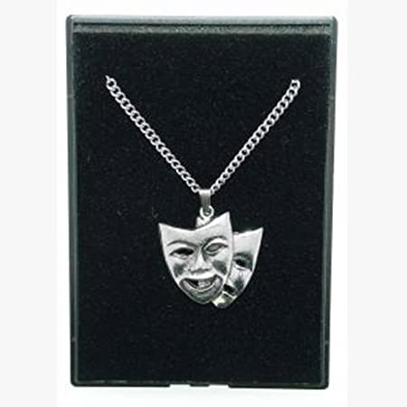Sterling Silver Comedy & tragedy drama Pendant Necklace on 18