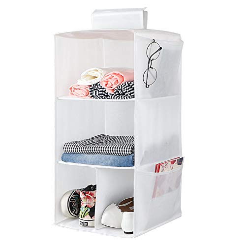 3 Shelves Hanging Closet Organizer, Cloth Hanging Shelves for Closet Organizer with Hook and Loops ,Polyester Canvas,Collapsible Storage Shelves for Clothes, Shoes and Accessories (3 Shelf - White)