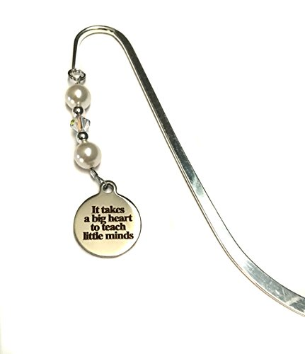 Teacher Bookmark Swarovski Pearls Crystal It Takes A Big Heart To Teach Little Minds Charm Gift