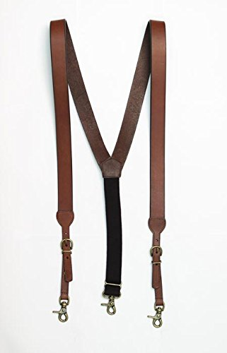 M & F Western Men's Nocona Hdx Smooth Leather Suspenders (Large, Brown)