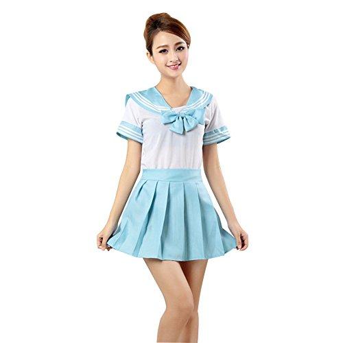LSERVER Japanese Anime Classice Cute Sailor Suit Short Sleeve Students Uniform Set Costume for Girl Women Light Blue
