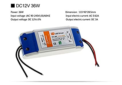 Transformador de alimentación 12 V para lámpara LED, tira LED, Halogen, etc, conector para tiras LED 2 pin sin soldadura: Amazon.es: Iluminación
