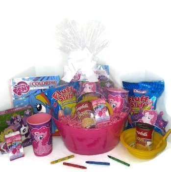 My Little Pony Gift Basket, Get Well Soon, Care Package, Kids Action Pack My Little Pony Toy Puzzle, Coloring Book, Crown, Bag, Tissue, Stickers, Cup + Cotton Candy, Bowl & Campbell's Soup 11pc Bundle