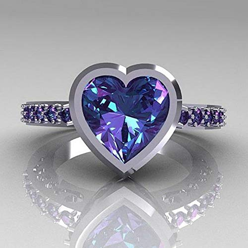 - Crookston Huge 925 Silver White Topaz Alexandrite Jewelry Wedding Engagement Ring Size6-10 | Model RNG - 15413 | 8