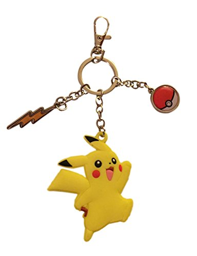 Price comparison product image Pokemon Sun and Moon Pikachu Soft Touch Keychain with Pokeball Metal Charms