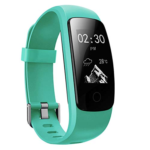 moreFit Fitness Tracker, Touch Activity Tracker HR Waterproof Heart Rate Monitors Smart Bracelet Wristbands Steps Miles Calorie Counter with Sleep Tracker for Women Men Kids (Green)