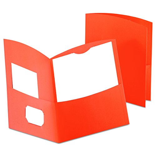 Oxford Contour Twin Pocket Folders, Orange, 25 Per Box (5062580) ()
