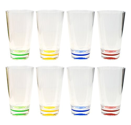 QG 8pc 23 oz Clear Acrylic Iced Tea Cup with Colored Base Plastic Tumbler Set in 4 Assorted Colors