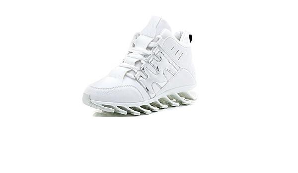 FYQ & mujeres Zapatillas de running redondo encaje blanco y negro impermeable zapatos zapatos sneakers blanco blanco Talla:35: Amazon.es: Deportes y aire libre