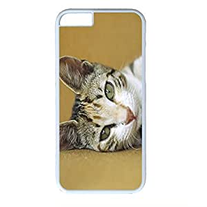 Hard Back Cover Case for iphone 6 4.7,Cool Fashion Art White PC Shell Skin for iphone 6 4.7 with Cute Cat