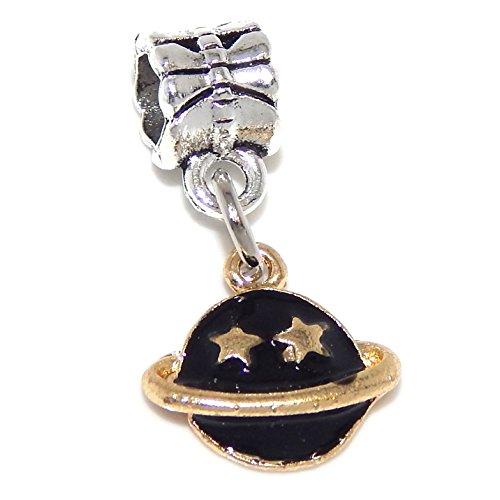 GemStorm Silver Plated Dangling Gold Tone 'Black Enamel Planet' For European Snake Chain Bracelet