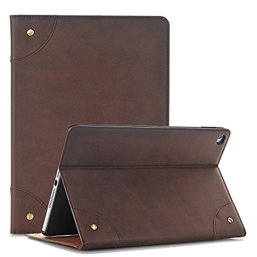 Price comparison product image iPad Pro 9.7 Case Cover,TechCode Screen Protective Luxury Book Style Folio Case Stand with Card Slots Smart Case Cover for Apple iPad Pro 9.7 inch Tablet (iPad Pro 9.7, Dark Brown)