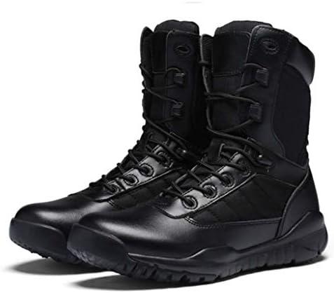 男子軽量オックスフォード布のための軍事戦術ブーツはStyleAntislip耐摩耗ラバーソールアサルトブーツ暖かいハイヘルプレースアップをしてください (色 : 黒, サイズ : 24.5 CM)