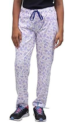 Romano Women Multi-Coloured Cotton Track Pant (romwomfloriwhitpurpleprnttrack_m, Medium, Multi-Coloured)