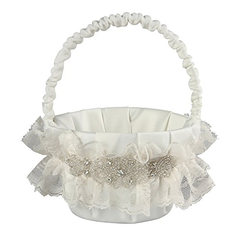 Cecilia Wedding Collection Flower Girl Basket, Ivory ()