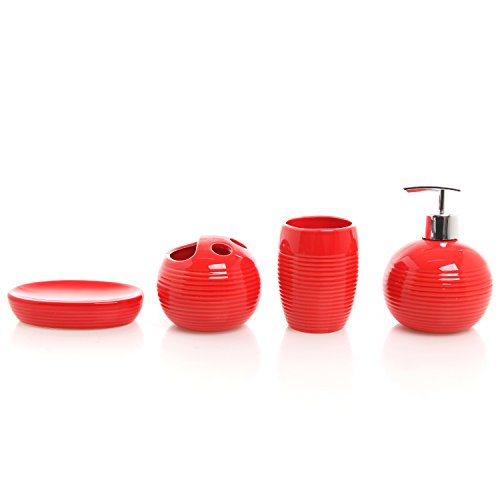 4 piece red ceramic full bathroom accessory set for Full bathroom sets