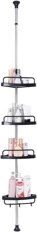 BAOYOUNI 4-Tier Shower Corner Caddy Tension Pole Adjustable Bathroom Shelf Floor to Ceiling Storage Rack Organizer Holder - No Drilling - Black