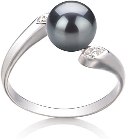 PearlsOnly - Dana Black 6-7mm Freshwater 925 Sterling Silver Cultured Pearl Ring