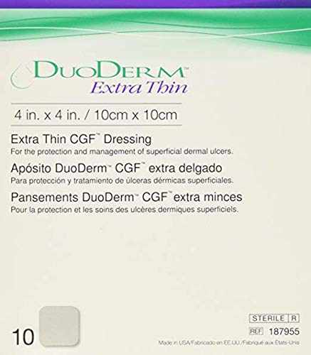 DuoDerm Hydrocolloid Dressing 187955 4 X 4 Inch Box of 10, Sand (Duoderm 4 X 4)