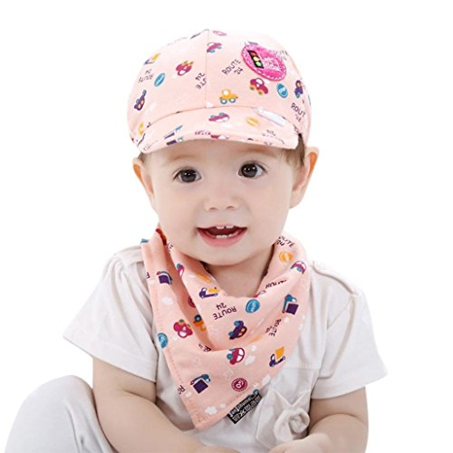 Price comparison product image 2PCS Toddler Baby Boys and Girls Cartoon Hat + Infant Pinafore Bib Set Outfit by WOCACHI Back to School Clearance Sale